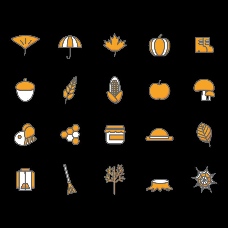 Vector Illustration : Set of autumn icons