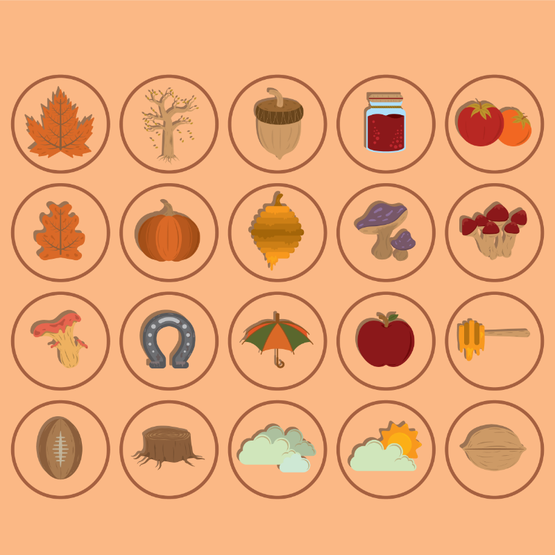 Vector Illustration : Collection of autumn icons