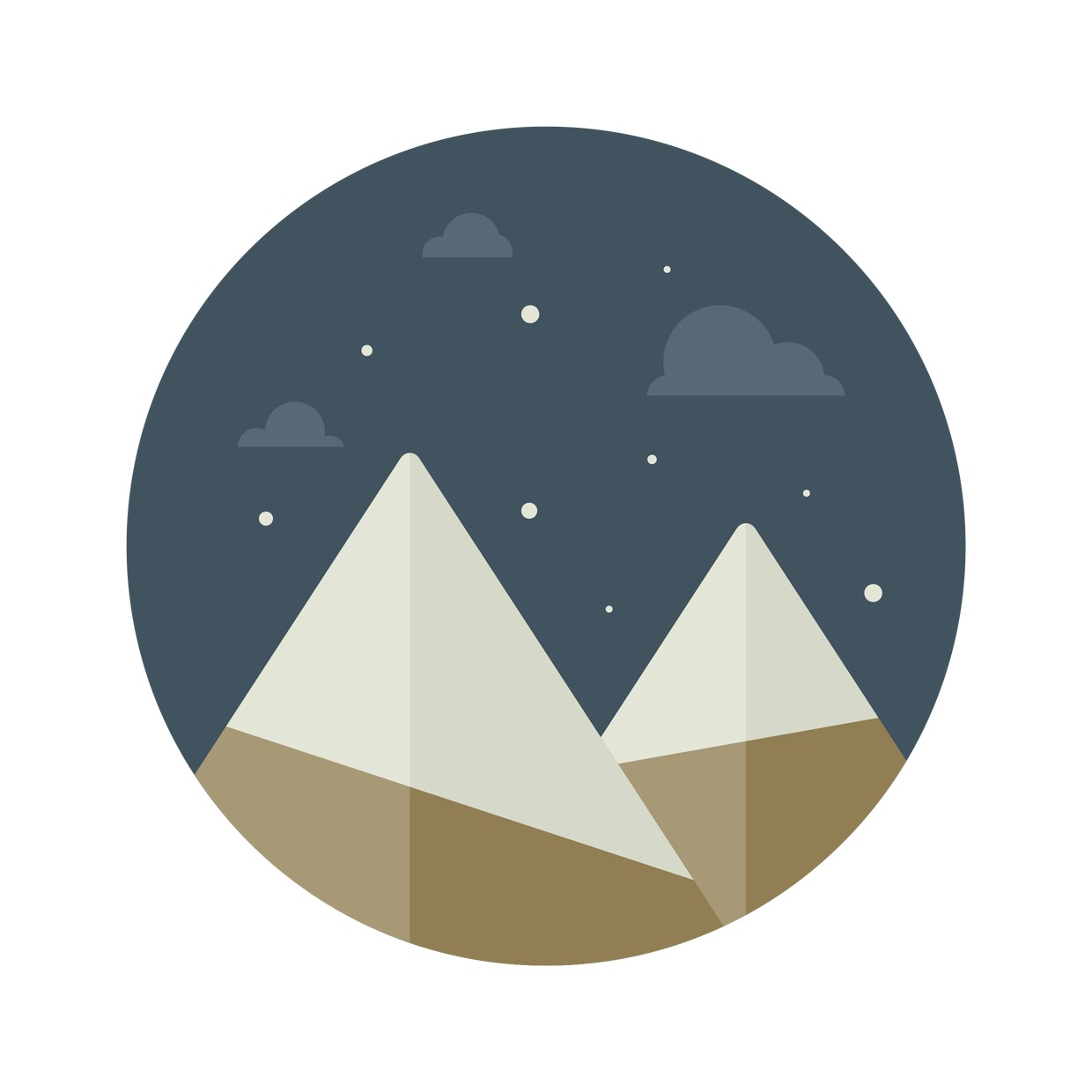 Vector Illustration : Mountains with snow caps