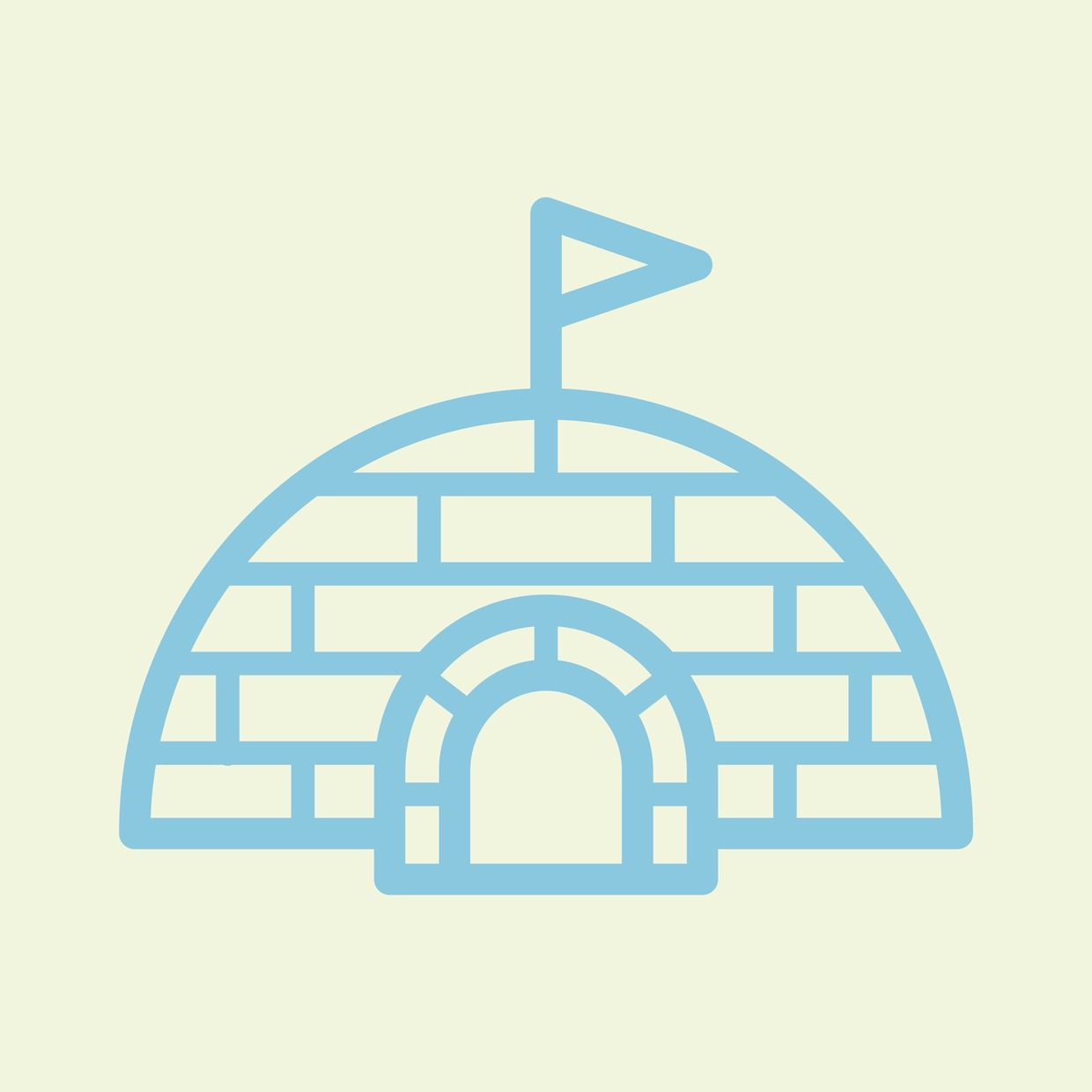 Vector Illustration : Igloo with a flag