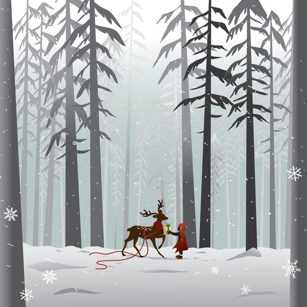 Vector Illustration : Reindeer in the forest