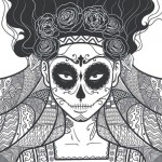Skull candy lady graphic - Adult coloring book