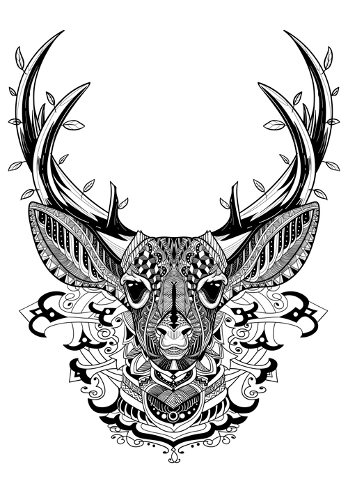 Deer graphic adult coloring book