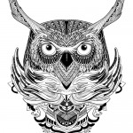 Detailed owl graphic adult coloring book