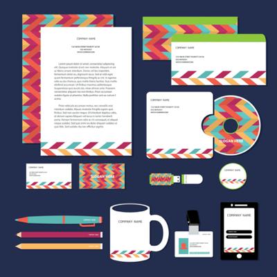 Corporate identity set multicolor scheme