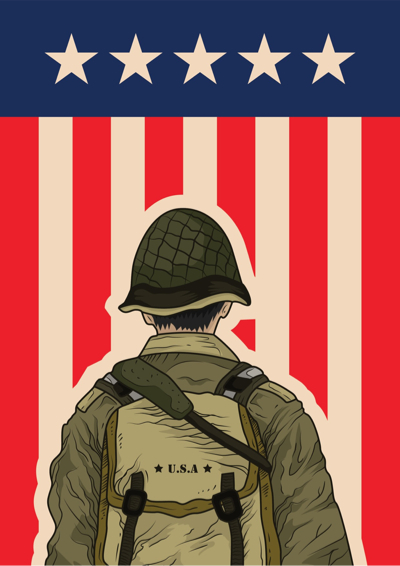 Memorial Day Graphics - soldier and American flag