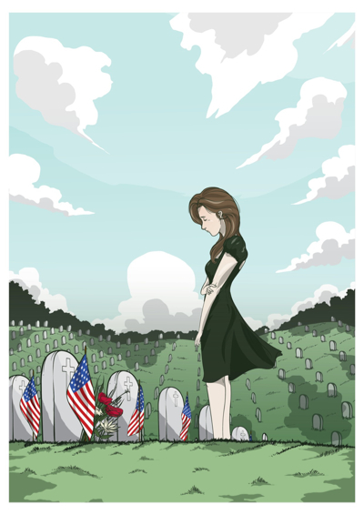 Memorial Day Graphics - Illustration of a lady weeping by tombstones.