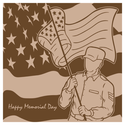 Free Memorial Day Graphics  -  lag-bearing soldier