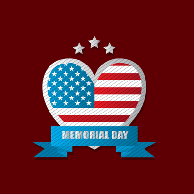Free Memorial Day Graphics  - American flag shaped heart