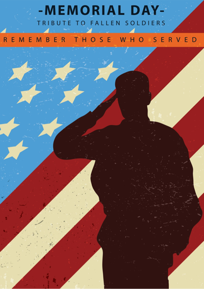 Memorial Day Graphics - Soldier Saluting the American Flag