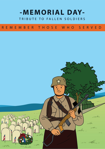 Memorial Day Graphics -  Illustration of soldier at the cemetery
