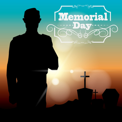Memorial Day Graphics - Silhouette of soldier at the grave yard