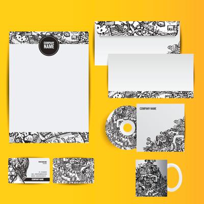 Corporate identity black and white illustration