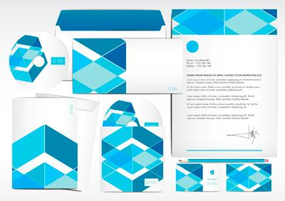 Corporate identity bright blue color scheme