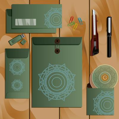 Corporate identity set green color scheme