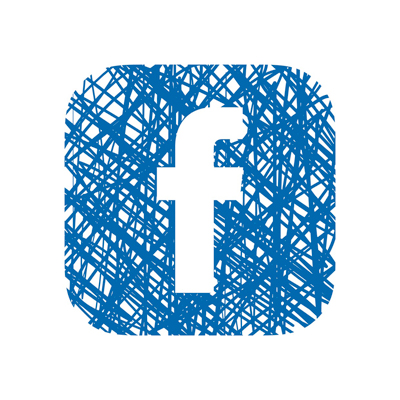 Facebook icon in cross hatched ink lines
