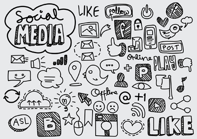 Social media icon set sketched style