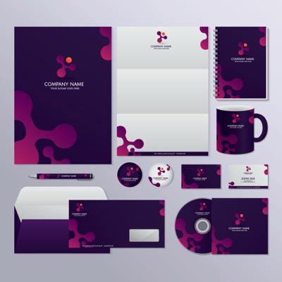 Corporate identity set purple color scheme