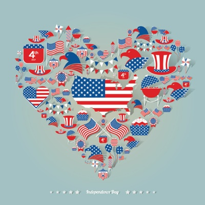 4th of July Graphics - American heart